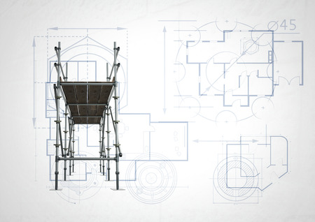 Digital composite of front of 3D scaffolding with white and blueprint background Stok Fotoğraf