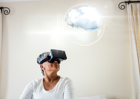 Digital composite of Older Woman wearing VR Virtual Reality Headset with Interface