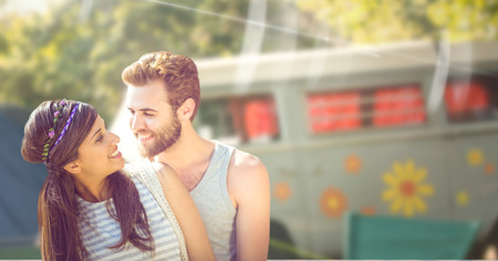 recreational pursuit: Digital composite of Happy couple in a festival. Stock Photo