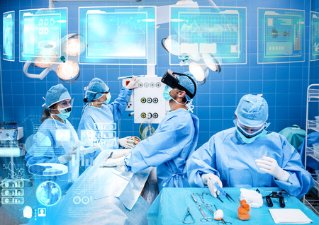 Digital composite of Doctor wearing VR Virtual Reality Headset with Interface
