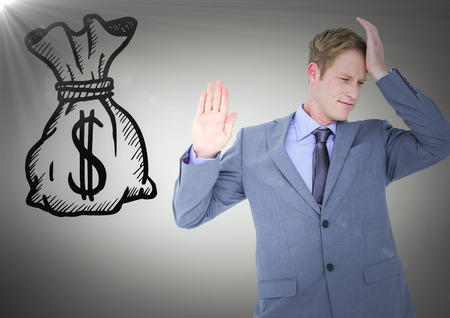 Digital composite of Business man refusing money doodle against grey background with flare Stock Photo