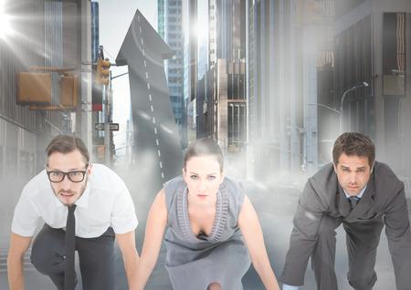 Digitale composiet van zakenmensen bij startlijn op pijlvormige weg in straat met fakkels
