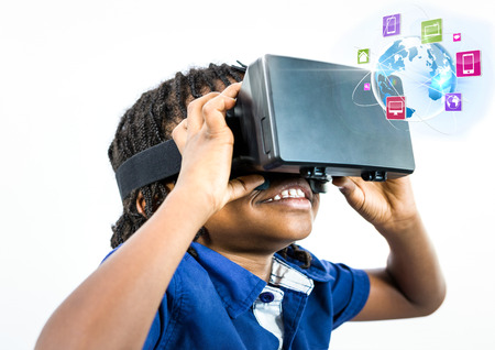 face with headset: Digital composite of Boy wearing VR Virtual Reality Headset with Interface Stock Photo