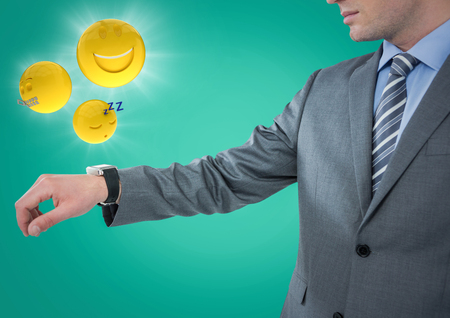 basic scheme: Digital composite of Business man with hand out and emojis with flares against teal background