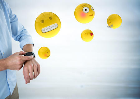 lighting background: Digital composite of Business man mid section with watch and emojis with flare against blurry grey wood panel
