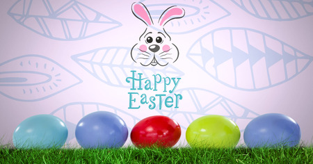 Digital composite of Happy Easter text with Easter eggs in front of pattern