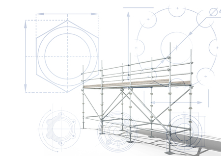 Digital composite of 3D scaffolding with white background with cogs