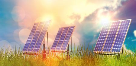 sunday market: Digital composite of 3d solar panel against graphic background