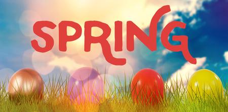 Easter greeting against blue sky