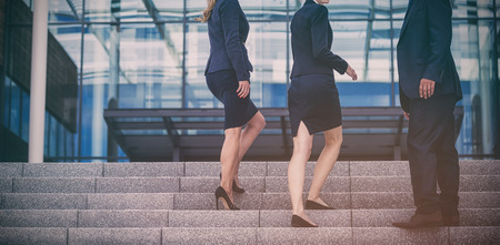 premises: Portrait of businesspeople climbing up stairs Stock Photo