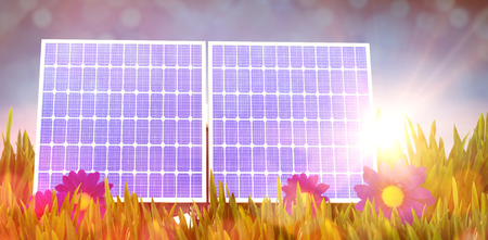 Digital composite of 3d solar panel against graphic background