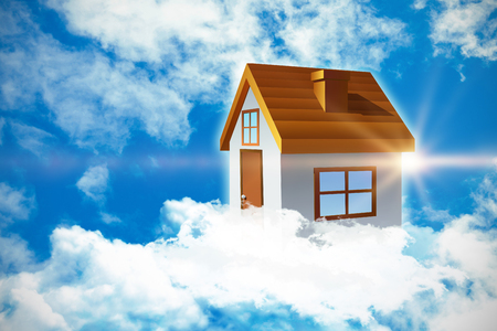 beaming: Composite image of 3d house against view of beautiful sky and clouds