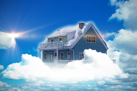 Composite image of 3d house against scenic view of blue sky