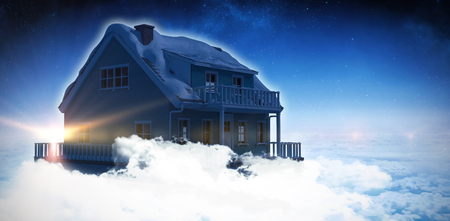 Digital composite of 3d house in blue sky Stock Photo