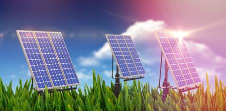 Digital composite of 3d solar panel against graphic background