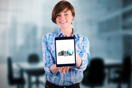 Portrait of smiling woman showing tablet computer against composite image of chairs and table in office
