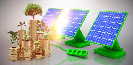 descending: Digital composite of 3d solar panel against graphic background