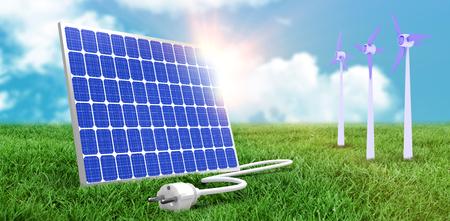 Digitale composito di 3d pannello solare contro sfondo grafico Archivio Fotografico - 75824894