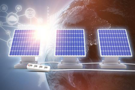 Digitale composito di 3d pannello solare contro sfondo grafico Archivio Fotografico - 75824839