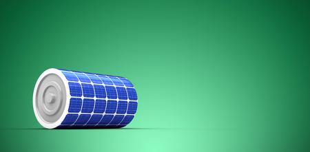 3d illustration of solar battery against green vignette