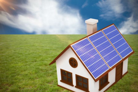 3d image of house with solar panels against blue sky with clouds