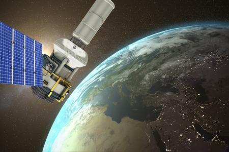 Immagine 3d del satellite moderno di energia solare contro la vista aerea della terra Archivio Fotografico - 75824679