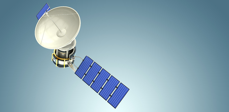 High angle view of 3d solar satellite against grey vignette