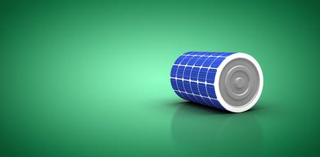 3d illustration of blue solar battery against green vignette