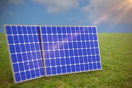 Immagine generata Digital di 3d attrezzatura solare contro una vista di un cielo blu Archivio Fotografico - 75824414