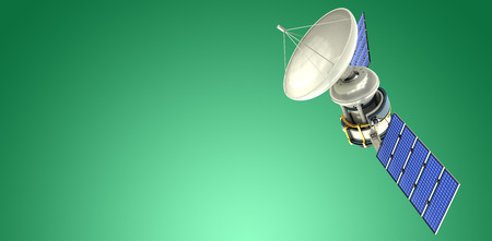 Low angle view of 3d solar power satellite against green vignette