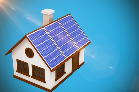 computer animation: 3d image of house with solar panels against blue background