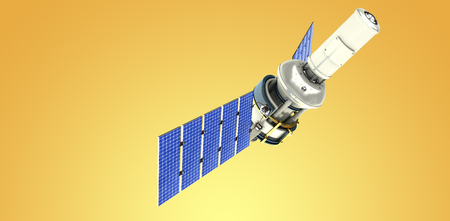 Low angle view of 3d modern solar satellite against yellow vignette Stock Photo