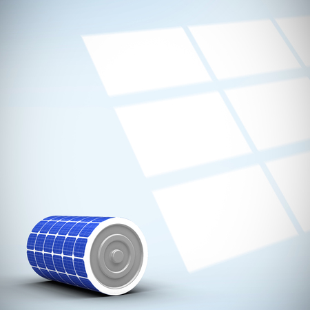 graticule: Digitally generated image of 3d solar power battery against digital image of pattern