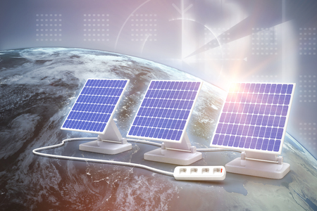 side effect: Digital composite of 3d solar panel against graphic background