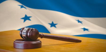 Hammer and gavel against 3d against digitally generated honduran national flag