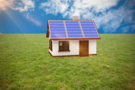 Vector image of 3d house with solar panels against view of beautiful sky and clouds
