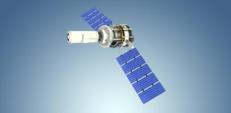 Vista dell'angolo alto del satellite solare moderno 3d contro la scenetta porpora Archivio Fotografico - 75824203