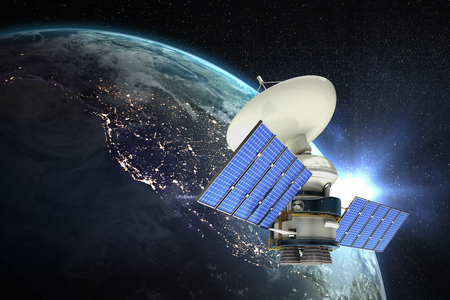 High angle view of 3d solar powered satellite against aerial view of the earth Stock Photo