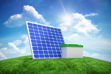 3d image of solar panel with battery against green hill under blue sky Stock Photo
