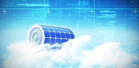 グラフィックの背景 3 d の太陽電池パネルのデジタル合成