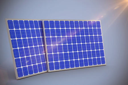 digitally generated image: Digitally generated image of 3d solar equipment against grey background