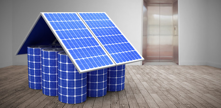 floorboards: 3d image of model home made from solar cells and panels against room with elevator
