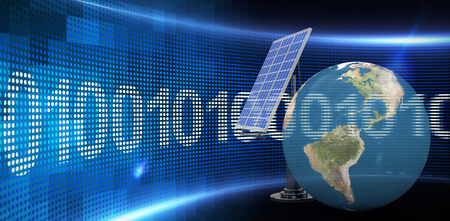 3d illustration of globe with solar panel against binary code on digital screen