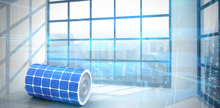 3d image of solar power battery against room with large window showing city Stock Photo