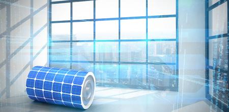 Immagine 3d della batteria di energia solare contro stanza con la grande finestra che mostra città Archivio Fotografico - 75824037