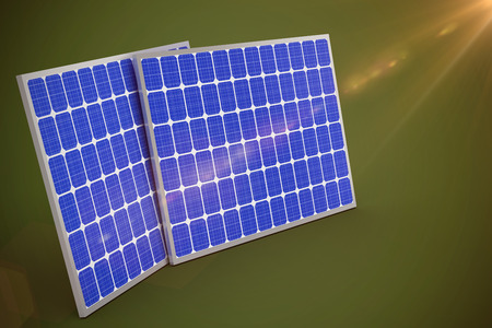 3d image of blue solar panels  against green background