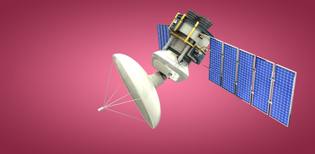 3d solar powered satellite against red and white background Stock Photo
