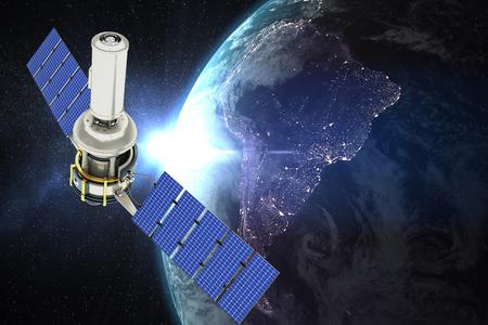 Vector image of 3d modern solar satellite against aerial view of the earth Standard-Bild