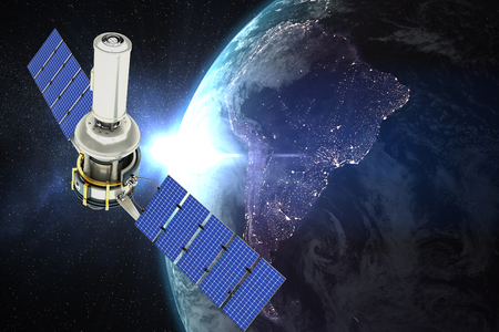 Vector image of 3d modern solar satellite against aerial view of the earth Stock Photo