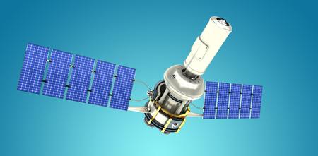 3d illustration of modern solar satellite against blue vignette background